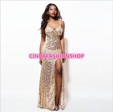 Woman Sequin Plunge V-neck Sleeveless  High Slit Cocktail Prom Maxi Long Dress