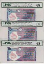 2014 HONG KONG $10 PMG68 EPQ Consecutive 3 Notes <P-401d> First Prefix AA
