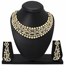 Indian Bollywood Style Fashion Ethnic Gold Tone Necklace Earrings Jewelry  Set