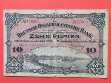 EAST AFRICA GERMANY ( 1905 RARE ) 10 RUPEES BEAUTIFUL RARE BANK NOTE