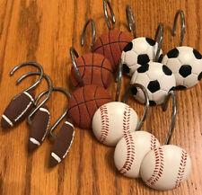 Sports Chrome Shower Curtain Hooks-Basketball-Football-Soccer-Baseball-Set/12