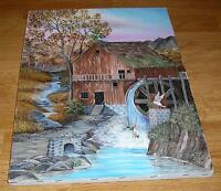 AMERICANA WATER MILL RAINBOW WATERFALL BROOK STREAM WATER LANDSCAPE PAINTING