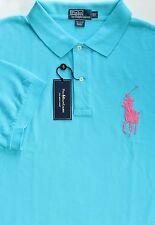 New Polo Ralph Lauren Blue Big Pony Short Sleeve Mesh Polo Shirt / big 2X
