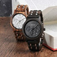 Wood Men Watches Luxury Brand Timepieces Week Display Date Quartz BOBO BIRD