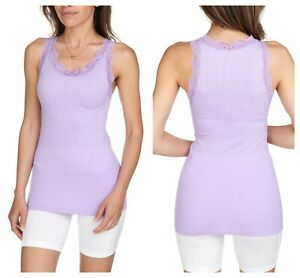 NEW SEXY Lace Shoulder Ribbed Solid Cotton Tank Top Sleeveless Shirts Gym Yoga