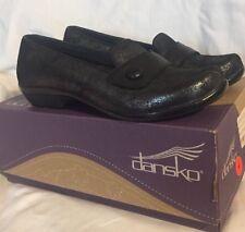 NEW Dansko Olena 5.5-6 EUR 36 Loafer Shoes Blue Metallic Suede Button Low Heel