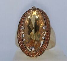 Estate Statement Ring 14kt Yellow Gold Citrine Gemstone And Diamond Ring