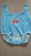 adult baby lined one piece romper/ diaper cover, airplane  motto size medium