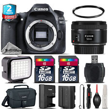 Canon EOS  80D DSLR Camera + 50mm 1.8 + LED + CASE + EXT BAT +32GB +2yr Warranty