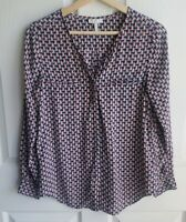 Joie Womens Silk Navy Blue Red Osana Sailboat Button Down Blouse Top Size XS