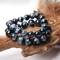 6-12mm Blue Tiger Eye Bracelets Men Natural Stone Beads Charm Bracelet Jewelry