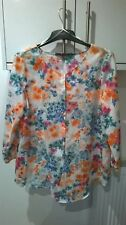 ZARA BASIC ORANGE/GREEN/BLUE LONG FLORAL BLOUSE WITH BUTTON DOWN FRONT MEDIUM