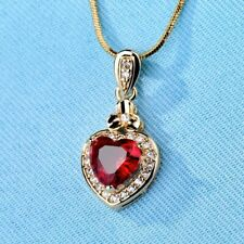 1.41 Ct Heart Garnet Women's Halo Drop Charm Pendant & Chain 14k White Gold Over