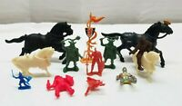 Vintage Miniature Figure Lot Lido Britains Marx Medieval Knights Horse Viking