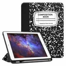 Apple iPad 9.7 2018 Case Soft Pen Holder Stand Magnetic Cover Composition Book