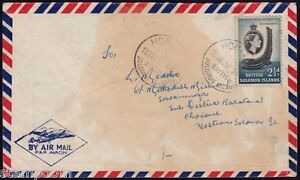 /Br. SOLOMON ISLANDS 1957 stained domestic COVER @JD2299N