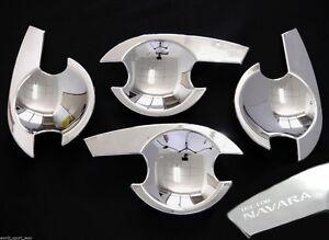 FOR Nissan Navara D40 Chrome Door Handle Insert Bowl Cup Trim 4 Door 2005+