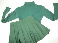 """Adult Small Cheerleader Uniform Outfit Green Crop Top 34"""" Pleated Skirt 26"""""""
