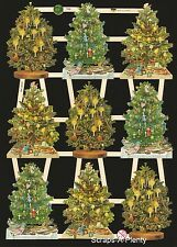 German Vintage Style Embossed Scrap Die Cut - Decorated Christmas Trees  EF7396