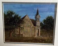SOUDERS Print Art 1983 Amazing Grace  Country's Chapel At Night