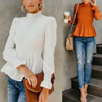 Women Frill Horn Turtle Neck Ruched Flare Sleeve Blouse Tops Long Sleeve Shirt A