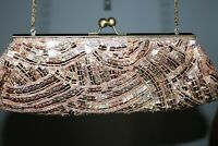 Vintage Jessica McClintock Gold Evening Bag Clutch Sequins and Beads