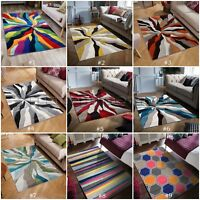SMALL - LARGE SPECTRUM COLOURFUL SPLINTER SHATTER GEOMETRIC 3D CARVED RUGS