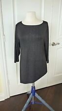 Chico's Tunic Top size 2 M 12/14 black with silver asymmetrical hem