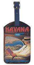 Leatherette VINTAGE AIRLINE Travel LUGGAGE TAG Baggage Label HAVANA CUBA PAN AM