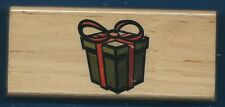 PRESENT GIFT BOX BOW Canadian Maple Collections Wood Mount CRAFT RUBBER STAMP