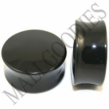 "0468 Double Flare Acrylic Black Earlets Saddle Ear Plugs 1-1/8"" Inch Plugs 28mm"