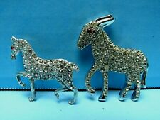 Pin Shaped As Horse & Donkey Excellent Vintage Lot 2 Metal Rhinestone Brooch /