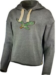 Philadelphia Eagles NFL Women's Gray Cropped Throwback Logo Fleece Hoodie ~ NWT