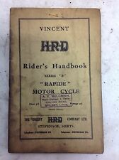 Genuine The Vincent HRD H.R.D Riders Handbook Series B Rapide Comet 1955