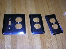 VINTAGE CHROME OUTLET AND SWITCH PLATE COVERS LOT OF 3 -SCREWS INCLUDED