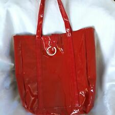 Yankee Candle Co Womens Pocketbook Red Tote Patent Leather Snap Closure Medium