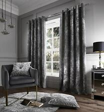 Catherine Lansfield Crushed Velvet Curtains Silver Grey Fully Lined Eyelet Ring