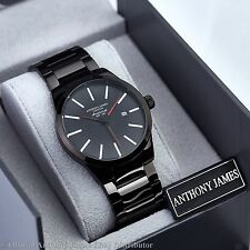 New LIMITED RUN Desisigner ANTHONY JAMES Black Red Men Wrist Watch Smart Steel