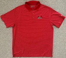 Nike Golf Tour Performance St Louis Cardinals Baseball Polo Red White Stripe XL
