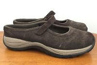 L.L BEAN Sz 8M Womens 05330 Brown Suede Mary Jane Slip On Slides Shoes Size 8 M