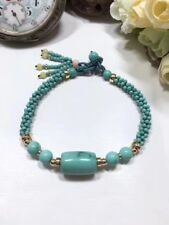 14k Gold Plated Round Bead Natural Blue Green Turquoise Handmade Bracelet