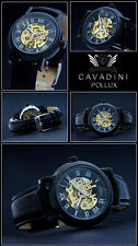 Pollux From The Home Cavadini -skelettiert Hand Wound in Black Glass Floor Watch