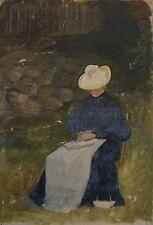 IMPRESSIONIST UM 1880 - FRAU IM GARTEN - SKAGENSCHULE - OLD OIL PAINTING STUDIE