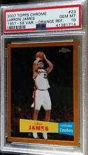 2007-08 Topps Chrome LeBron James Orange Refractor Var PSA 10 Gem Mint #27/199
