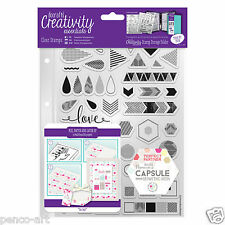 Docrafts Papermania geometrico NEON A5 Stamp set FRECCE Chevrons + Storage Pocket