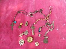 MIXED LOT OF RETRO CATHOLIC STERLING SILVER AND OTHER METALS RELIGIOUS MEDALS