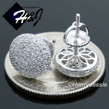 MEN 925 STERLING SILVER 9MM ICY DIAMOND BLING ROUND SCREW BACK STUD EARRING*E81
