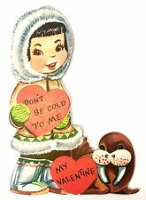 Vintage Greeting Card Valentine Cute Little Inuk Girl and Walrus Alaskan