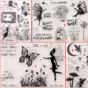 Butterfly Fairy Transparent Silicone Clear Stamp DIY Scrapbook Flower Vine Tree