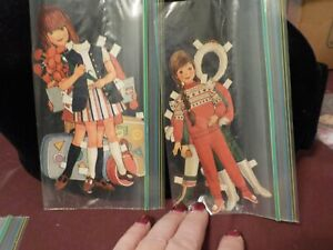 VINTAGE BETSY MCCALL ? PAPER DOLLS CUT OUT OF MAGAZINE- 2 GIRLS- FLOWERS, BRAID